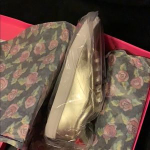 Betsey Johnson Shoes - Gold metallic sneakers. Red lips on back